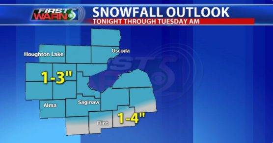 Winter storm warning issued for Tuesday