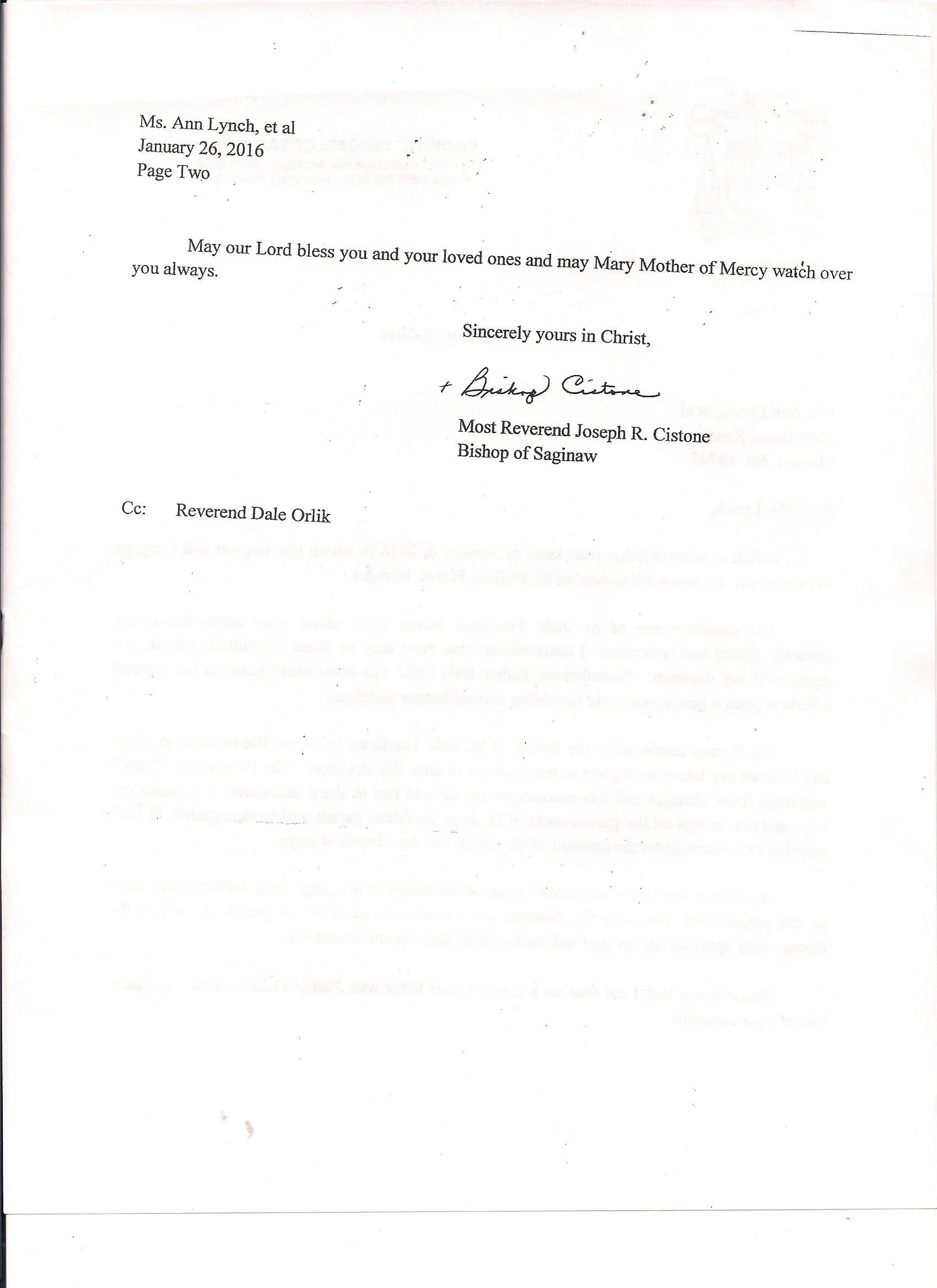Letter from Bishop Joseph Cistone to parishioner Ann Lynch (Source: Ann Lynch)