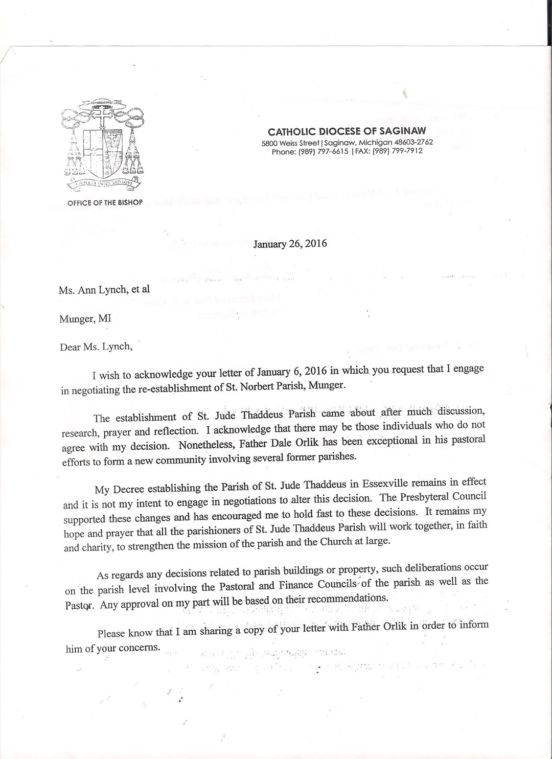 Letter from Bishop Joseph Cistone to parishioner Ann Lynch (Source: Ann Lynch)