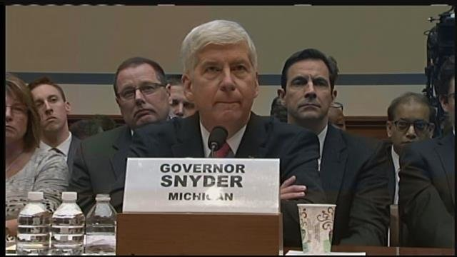 Gov. Snyder at hearing in Washington (Source: CNN)