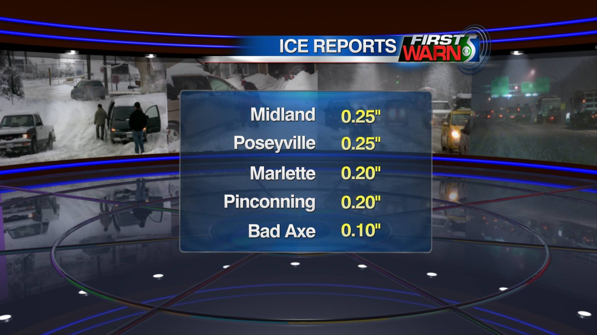 Highest Reported Ice Totals, March 23-24