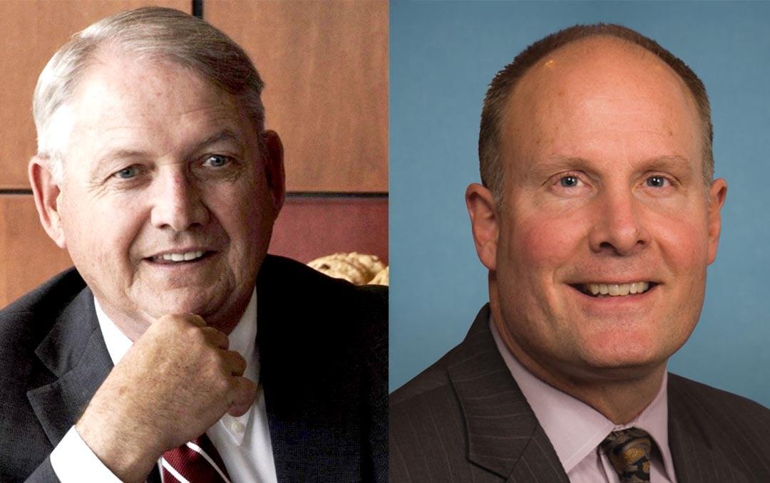 Left: SVSU Don Bachand (Source: Twitter @SVSUPrez). Right: U.S. Rep. John Moolenaar (Source: congress.gov)