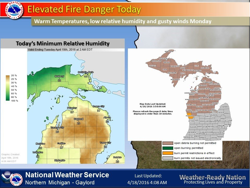 Fire Danger Map (Courtesy: NWS Gaylord)