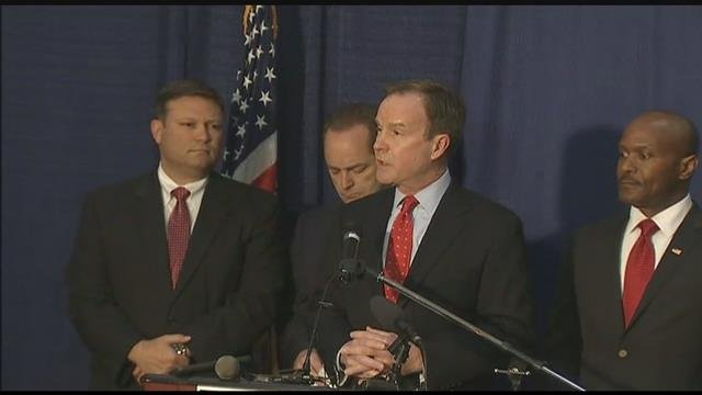 MI A.G. Schuette announcing criminal charges in connection with the Flint water crisis. (Source: WNEM)