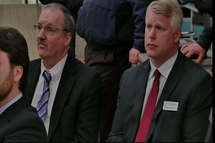 Michael Prysby (left) sits next to Stephen Busch (right) at the Flint water plant on April 25, 2014. (Source: WNEM)