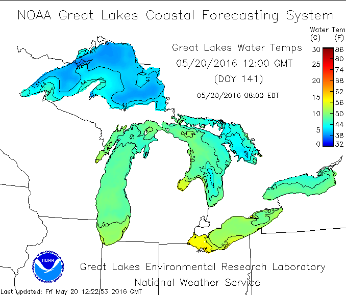 Great Lakes Temperatures As Of 8 AM, May 20th (Source: NOAA)