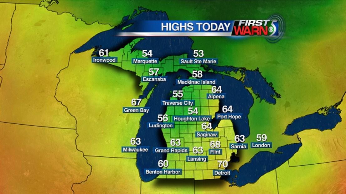 Michigan High Temperatures - Tuesday, June 7