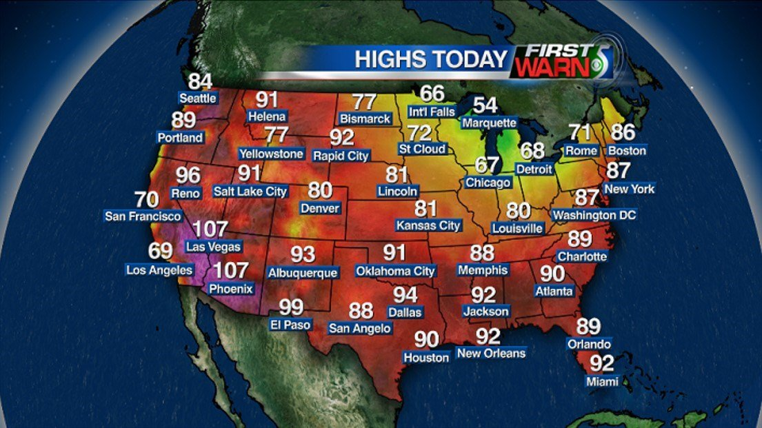 National High Temperatures - Tuesday, June 7