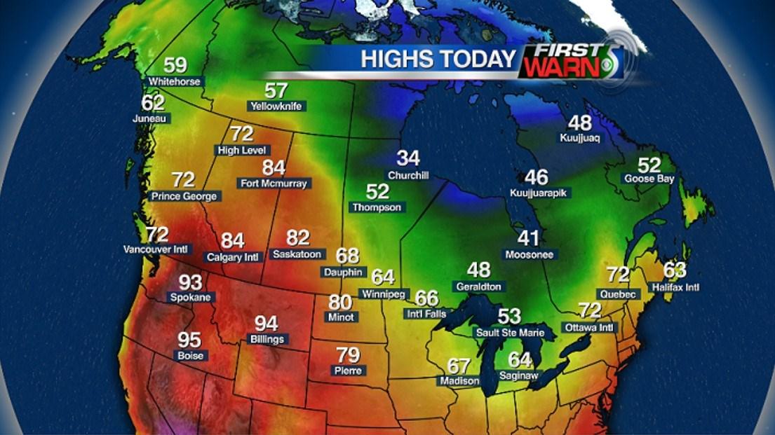 Canada High Temperatures - Tuesday, June 7