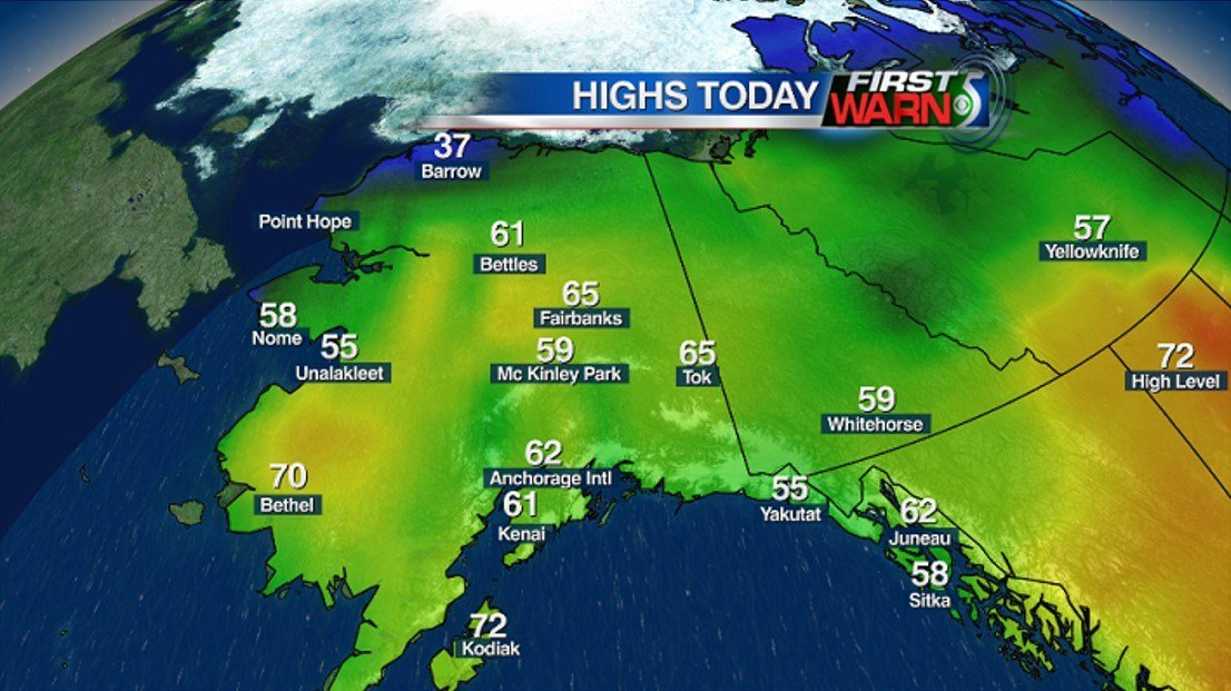 Alaska High Temperatures - Tuesday, June 7 (As of 10:00 PM EDT)