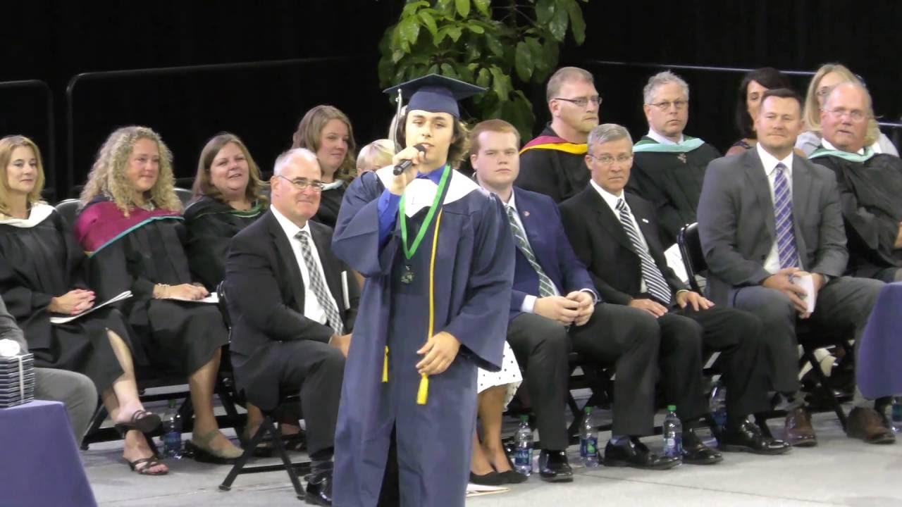 JP Wallace sings at Lapeer H.S. Graduation