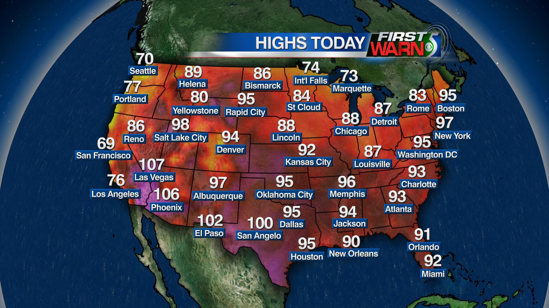 High Temperatures - Monday, July 18, 2016