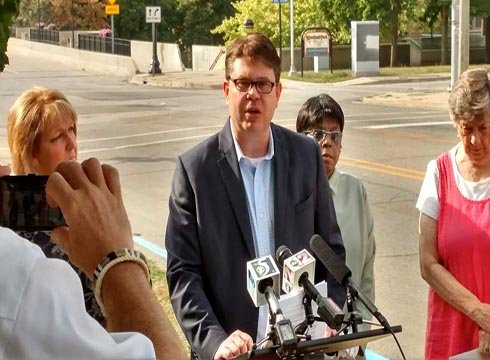 Democratic Party Chair Brandon Dillon held a press conference Monday. Source: WNEM
