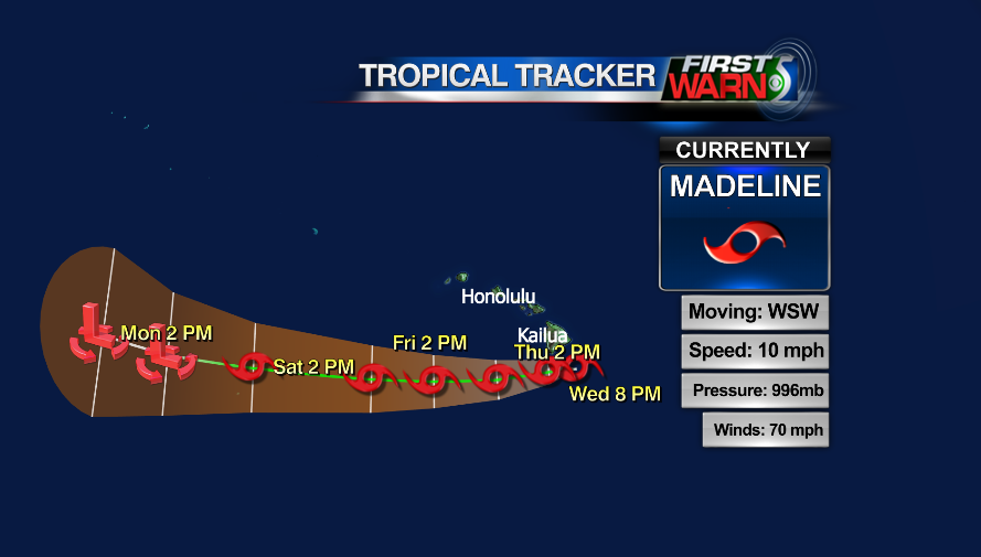 Madeline info and storm track as of 9 pm Wednesday.