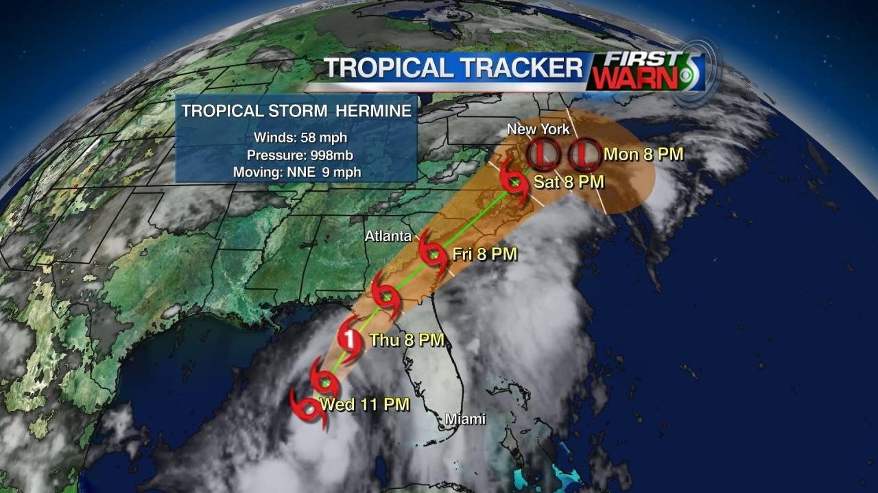 Hermine info and storm track as of 8 pm Wednesday.