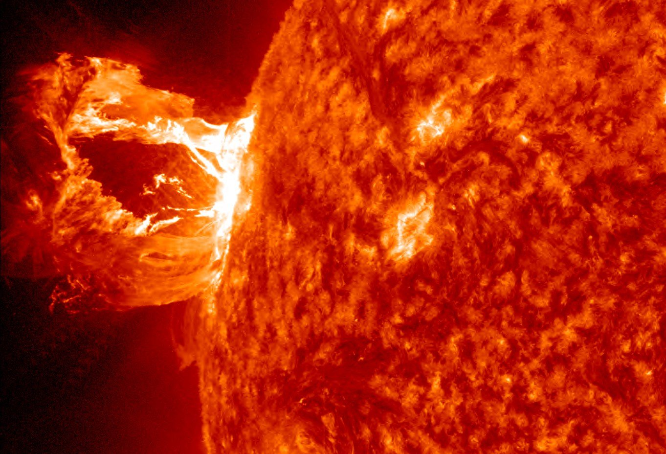 Image of the sun showing a CME. (Source: NASA)