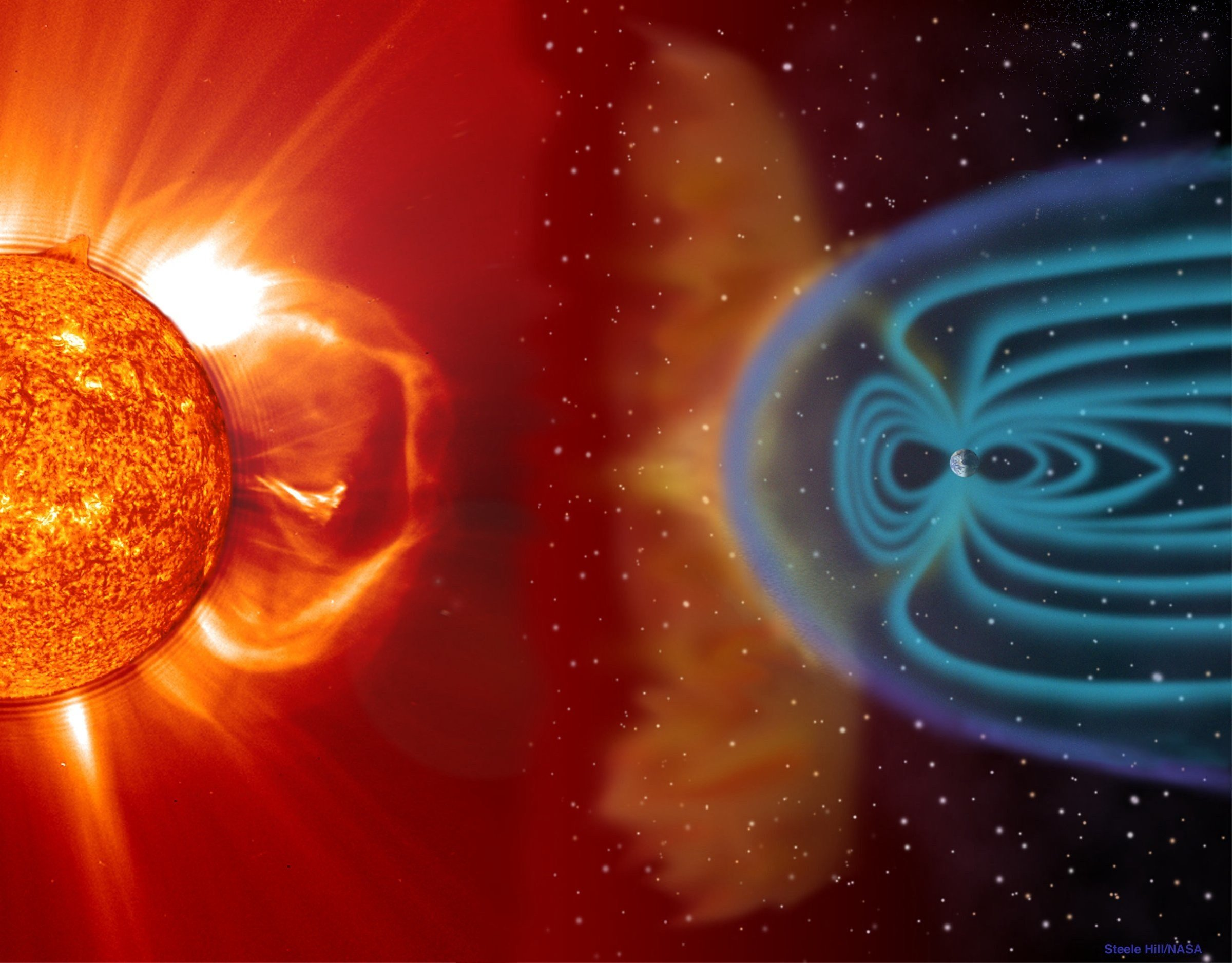 Depiction of a solar flare's effect on Earth's magnetic field. (Source: NASA)