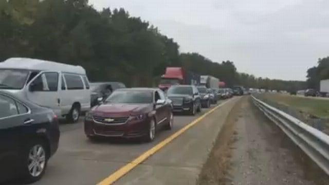 Traffic back-up on US-23 (Source: WNEM)