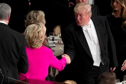 Republican presidential candidate Donald Trump, right, shakes hands with Democratic presidential candidate Hillary Clinton, left, at the conclusion of the 71st annual Alfred E. Smith Memorial Foundation Dinner, a charity gala organized by the Archdiocese
