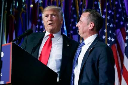 In this Wednesday, Nov. 9, 2016, photo, President-elect Donald Trump, left, stands with Republican National Committee Chairman Reince Priebus during an election night rally in New York. Trump on Sunday named Priebus as his White House chief of staff. (AP
