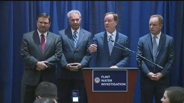 2016 file photo of Schuette announcing charges in Flint water crisis. (Source: WNEM)