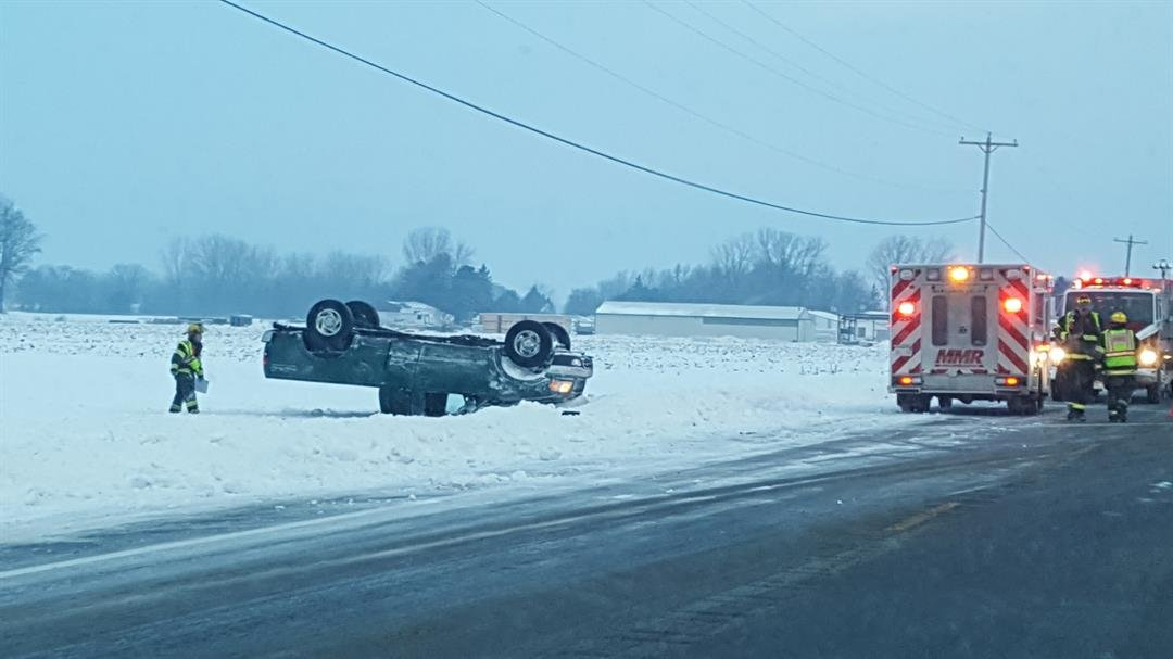 A viewer sent us this photo of a rollover on M-13 and Houlihan Road in Saginaw.