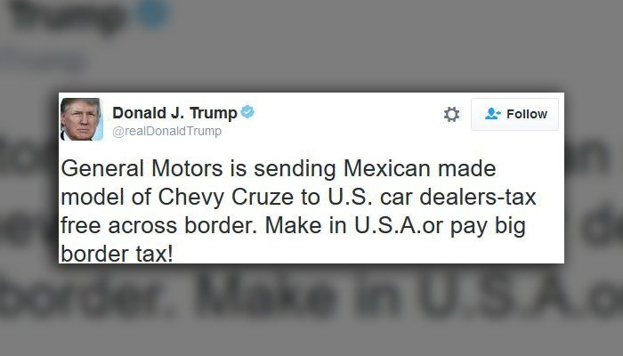 Shares of GM were down in premarket trading Tuesday after Trump's tweet attacking GM, even though the U.S. auto company makes most of its Chevy Cruzes in the U.S. (Source: Twitter)