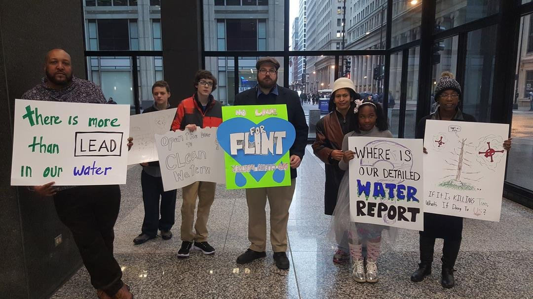 Protest at Chicago EPA summit on Flint Water (Source: Melissa Mays)