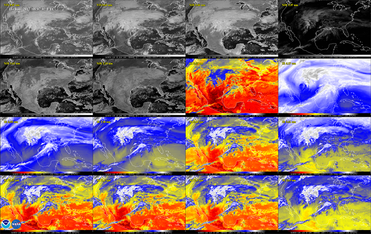 This 16-panel image shows the continental United States across a variety of instruments from the GOES-16 satellite. (NOAA/NASA)