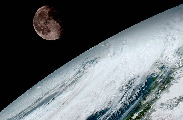 GOES-16 captured this view of the moon as it looked across the surface of the Earth on January 15. Like earlier GOES satellites, GOES-16 will use the moon for calibration. (NOAA/NASA)