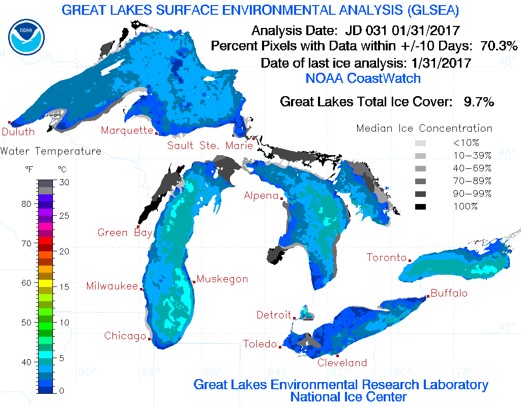 Great Lakes ice coverage and temp Jan. 31, 2017. (Source: NOAA)