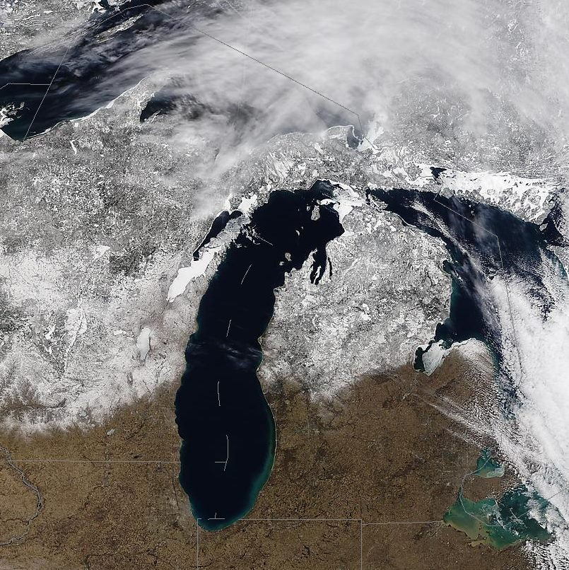 NOAA MODIS Saellite photo of Michigan, taken February 14, 2017. (Source: National Weather Service)