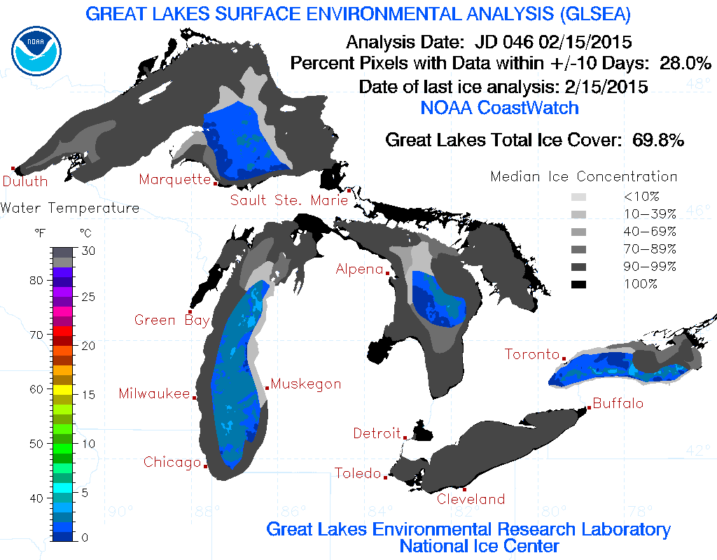 Great Lakes Ice Cover 2015