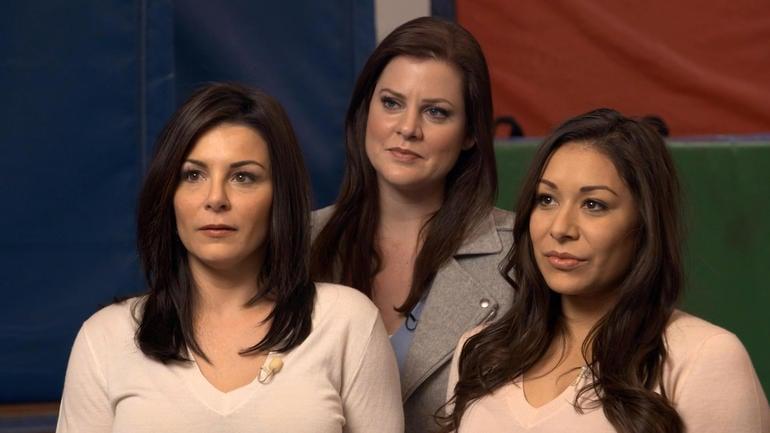 Former Team USA gymnasts, from left: Jamie Dantzscher, Jessica Howard and Jeanette Antolin CBS NEWS