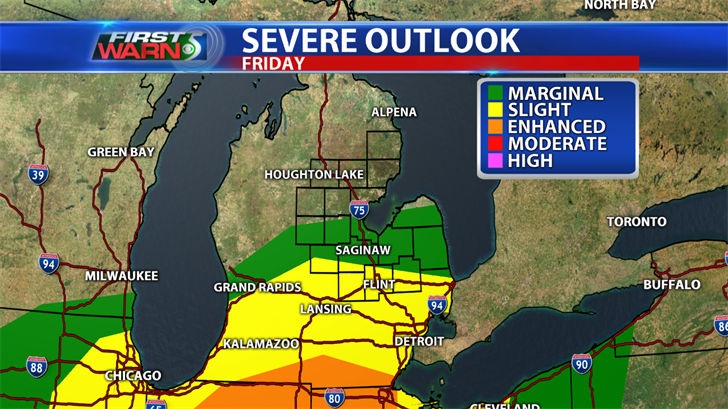Severe weather outlook for Friday.