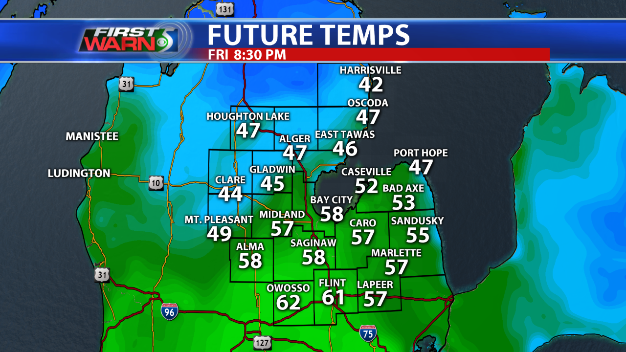 Future Temps 8:30 pm Friday.