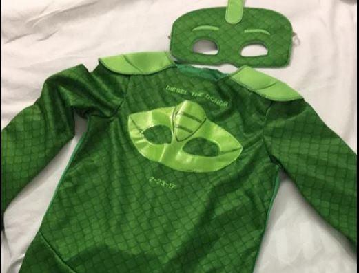Diesel's superhero costume (Source: Brinley the Brave on Facebook)