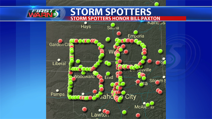 "Storm chasers use GPS coordinates to spell out the initials ""B.P."" to honor the passing of actor Bill Paxton."