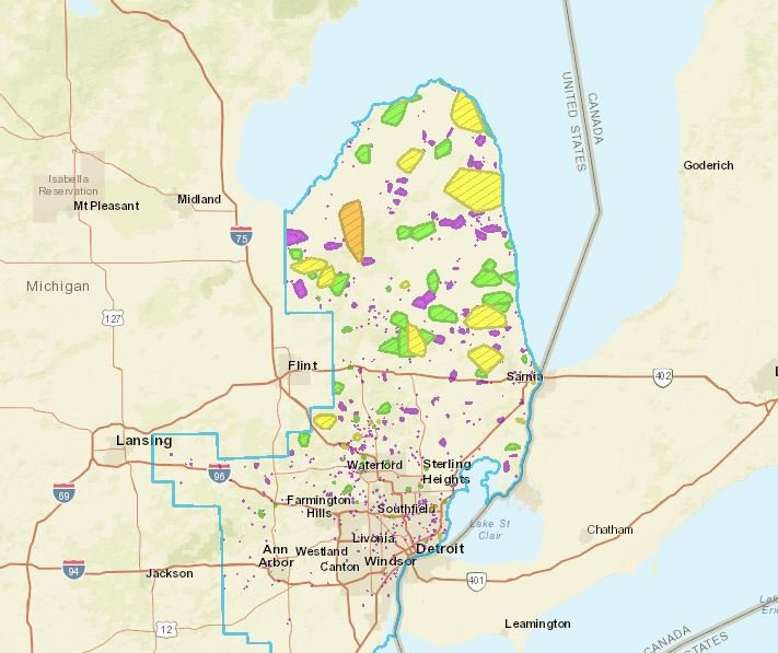DTE Outage Map as of 5 a.m. Friday