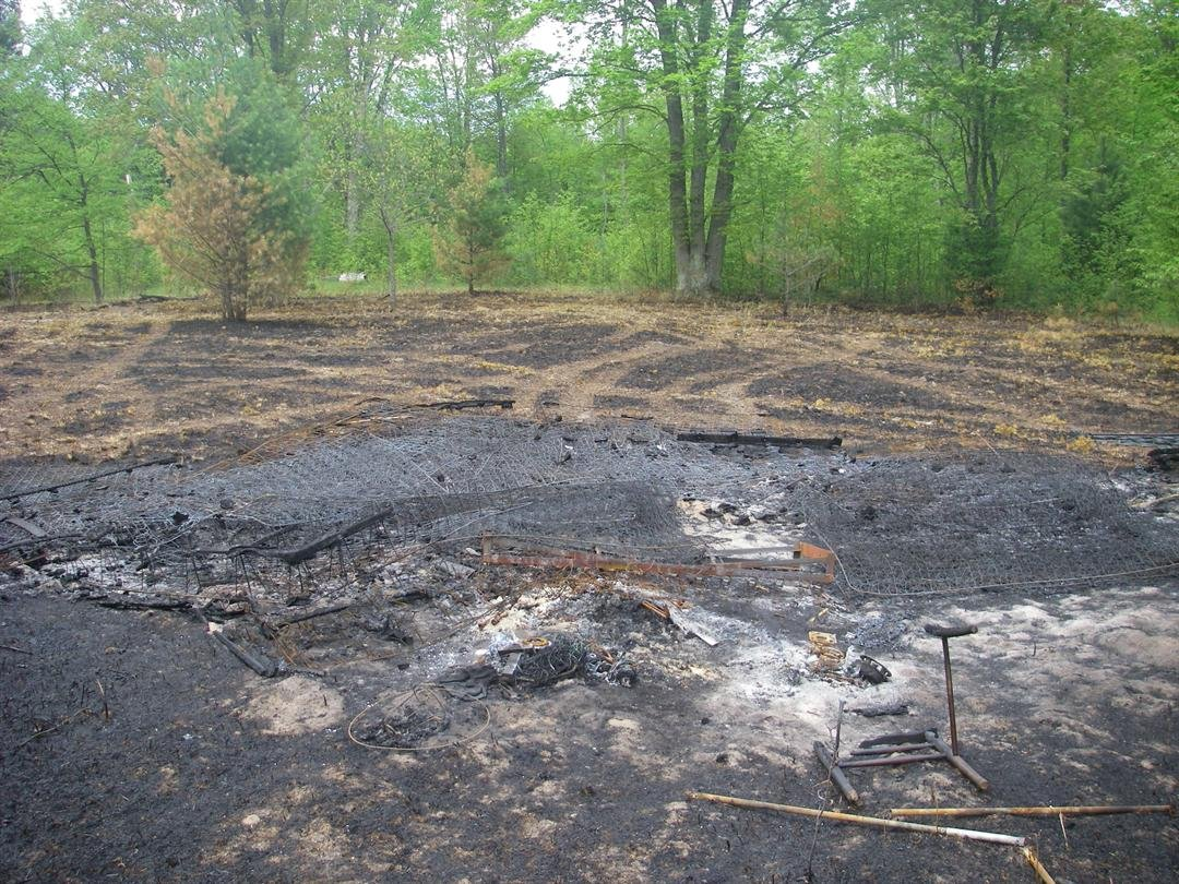 The area where mattresses and box springs were burned in Benzie County. (Source: DNR)