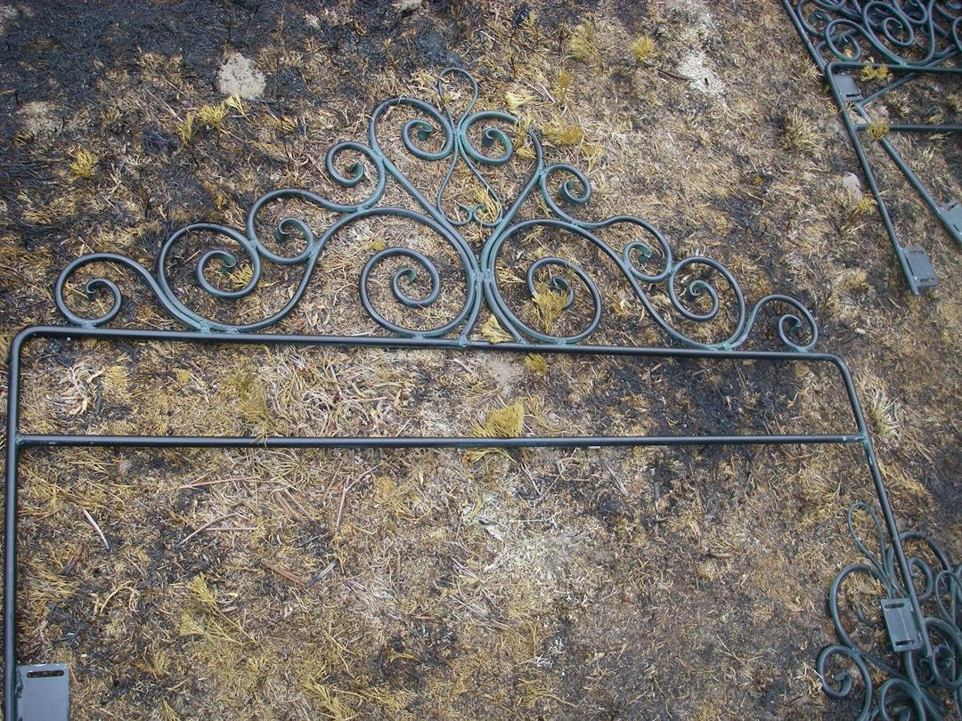 A close-up view of one of the distinctive headboards found burned near the village of Lake Ann in Benzie County. (Source: DNR)