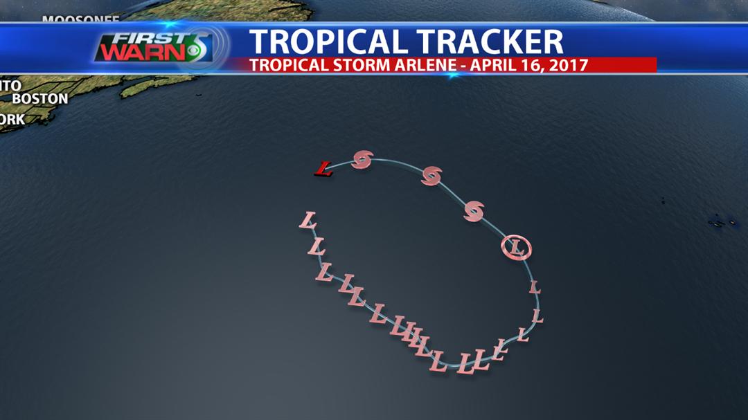 Tropical Storm Arlene track.