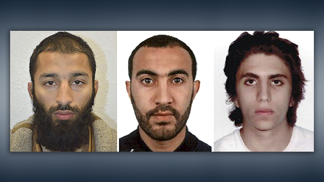 (AP Photo/Meredith/Metropolitan Police) This is an undated three photo combo of Khuram Shazad Butt, left, Rachid Redouane, centre and Youssef Zaghba who have been named as the suspects in Saturday's attack at London Bridge.