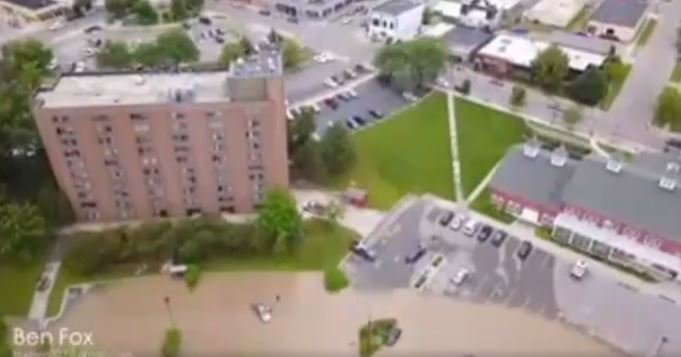 Drone footage from TV5 viewer Ben Fox shows flooding in Mt. Pleasant