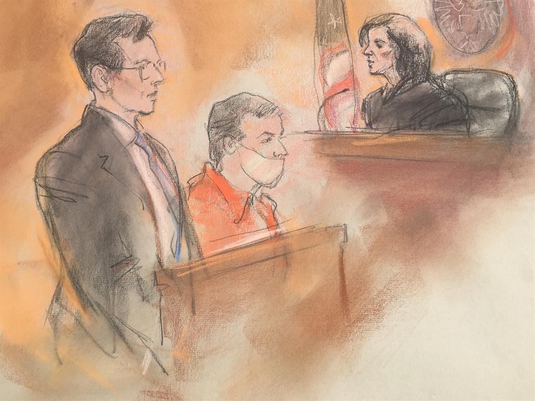 Sketch of Amor Ftouhi during court appearance on June 28, 2017 (Credit Carole Kabrin)