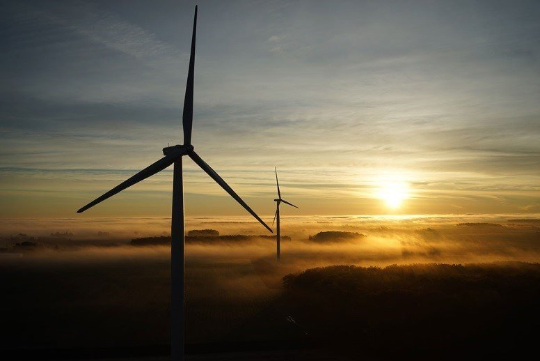 Wind turbines above the clouds at Cross Winds® Energy Park.  (Source: Consumers Energy)
