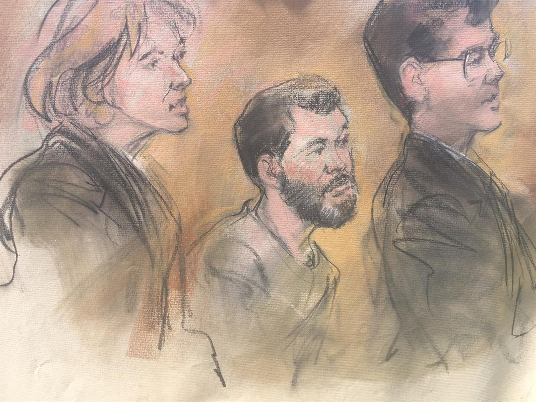 Sketch of Amor Ftouhi during court appearance on July 5, 2017 (Credit Carole Kabrin)