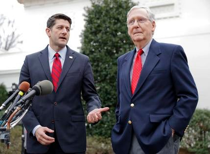 In this Feb. 27, 2017 file photo, House Speaker Paul Ryan of Wis., and Senate Majority Leader Mitch McConnell of Ky. meet with reporters outside the White House in Washington. Congress is still trying to send President Donald Trump his first unqualified l