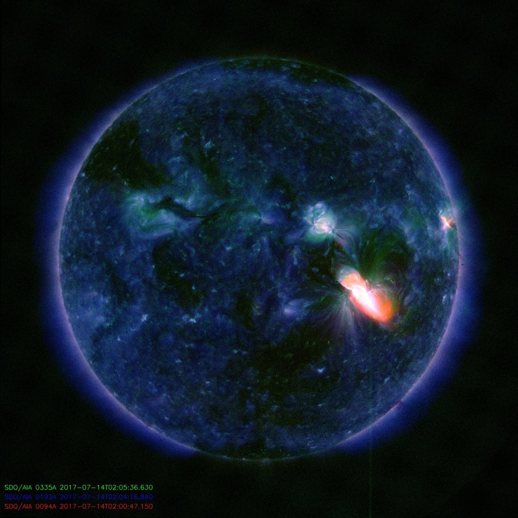 Ultraviolet image of the Sun, depicting a solar eruption that occurred Thursday, July 13. Source: NASA