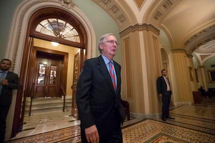 Senate Majority Leader Mitch McConnell of Ky. leaves the Senate chamber on Capitol Hill in Washington, Thursday, July 27, 2017, after a vote as the Republican majority in Congress remains stymied by their inability to fulfill their political promise to re